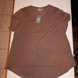 JM Collection Brown Clay Tee
